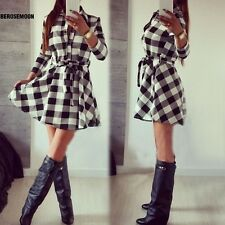 Stylish Ladies Plaid Check Belt Shirt Skater Dress Women Lapel 3/4 Sleeve B0N01
