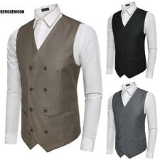 Men Fashion Double-Breasted Casual Business Vest Waistcoat B0N01