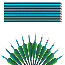 """31"""" Green Shield Fletching Blue Shafts Aluminum Arrows For Archery Compound bow"""