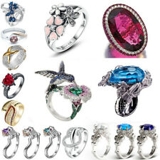 Women Men 925 Silver Ring Jewelry Mermaid Topaz Gemstone Wedding Prom Size 6-12