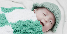 Pixie Green Premature Baby Blanket hand knitted by Willow