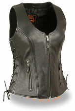 Motorcycle ladies biker Blk zipper round collar leather vest with side laces