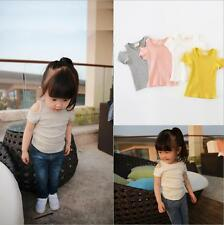 Fashion Summer Cotton Kids Baby Girls Short Sleeve Bottom Shirt Strapless Tops
