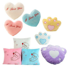 7color Changing LED Light Flashing Heart Shaped Fluffy Cushion Throw Pillow L6Z2