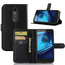 For MOTOROLA X Force DROID TURBO 2 XT1585 Flip Wallet PU Leather Case Skin Cover