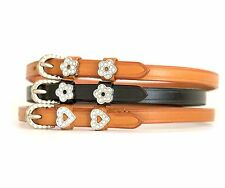 """Adult 18"""" English Riding COLOR  / CRYSTALS Spur Straps, USA Leather"""