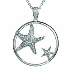 Cute Cubic Zirconia Starfish Rhodium Sterling Silver 925 Pendant Necklace