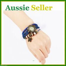 Retro Vintage Leather Womans Girls Quartz Watch Bangle With Butterfly Pendant