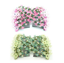 2 Pcs Morning Glory Ez Magic Beads Combs Double Stretching Combs Hair Clips