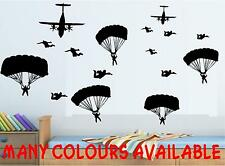14 PARACHUTE SOLDIERS + PLANES WALL ART BEDROOM WALL STICKERS