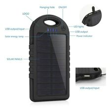 Power Bank 5000mAh Solar Dual USB Portable Charger Outdoor External Battery i...