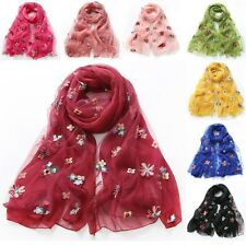 Ladies Embroidery Floral Scarf Chiffon Long Soft Shawl Sunscreen Wrap Stole Cute