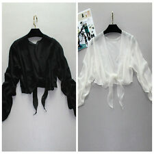 Lady 100% Pure Silk Shawl Bolero Cropped Shrug Georgette Blazers Tops Tie Casual