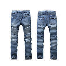 France Style Men Moto Biker Jeans Straight Slim Fit Denim Pants Distressed Blue