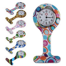LOVELY SILICONE NURSES BROOCH TUNIC FOB POCKET WATCH STAINLESS DIAL NICE