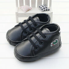 Newborn Baby Boy Girl Pre-Walker Black Soft Sole Pram Shoes Trainers 0-18 Months