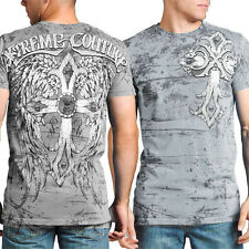Xtreme Couture Thor Cross Wings Script Lettering UFC MMA Mens T-Shirt Silver NEW
