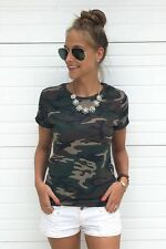 Blouse Top Tee Summer Women Casual Short Sleeve Camouflage Crewneck T-Shirt
