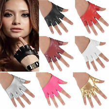 Sexy Women Lady Half Finger PU Leather Gloves Fingerless Driving Show Gloves