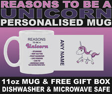 Reasons To Be A Unicorn Mug - Can Be Personalised - 11oz Mug - Free Gift Box