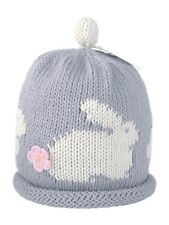 MERRY BERRIES Grey Bunny with Pink Knitted Baby Girls Hat - 100% Cotton BNWT NEW