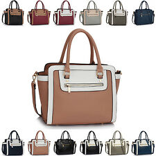 Ladies Faux Leather Multi Coloured Women Shoulder Bag Cross Body Handbag Tote UK