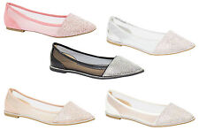 Ladies Ballerina Diamante Casual Pumps Womens Dolly Ballet Mesh Flat Party Shoes