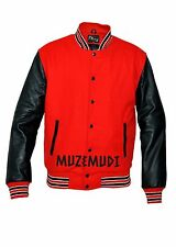 Red Wool With Black Real Leather Sleeves Letterman College Bomber Varsity Jacket