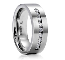 Women Men 8MM 316L Stainless Steel Titanium Wedding Band Ring Size 6-13