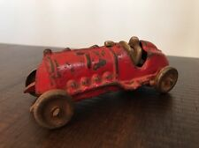 """Vintage Hubley Cast Iron Race Car, Open Driver, 5.25"""", Red, #7"""
