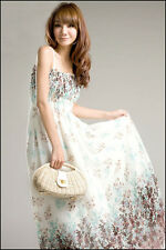Women's Korean Style Chiffon Strappy Casual Floral Pattern Tube top Long Dress
