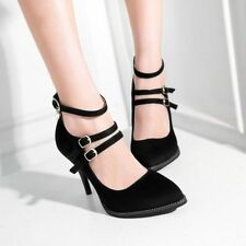 Womens Stilettos High Heels Shoes Pumps Pointed Toe Ankle Strap Work Faux Suede