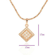Fashion 9K Rose Gold Filled crystal Red Ruby Asscher Pendant For Necklace