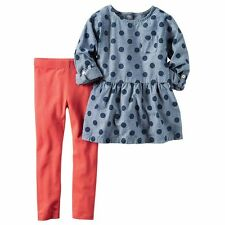 Carters Baby Girl Polka Dot Chambray Tunic and Leggings 2 Piece Set size 12M NEW