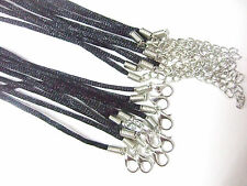 Wholesale Lots 20 50pcs Black 2mm Satin Silk Cords Choker Necklace 13-30""