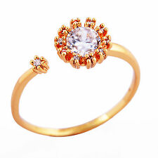 Womens Girls Pretty 9K Gold Filled CZ Sunflower Band Wedding Ring Size 6 7 8