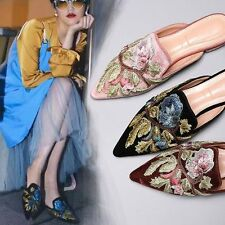 Womens Shoes Embroidery Flower Velvet Sandals Flats Oxfords Point Toe Mules New