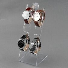 4 Slots Clear Plastic Watch Bracelet Jewelry Showcase Display Stand Holder Rack