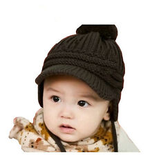 Knitted Baby Kids Hat Peaked Cap Crochet Children Earflap Soft Ball Knit Cap NG