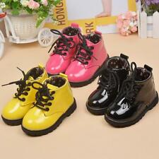 Boys Girls Patent Leather Martin Boots Non-Slip Laces Shoes Kids Baby Toddler