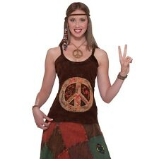 Womens 60s Hippie Fancy Dress Costume Tank Top