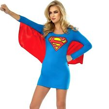 Womens Supergirl Tank Dress Superhero Costume Super Woman Hero Party Outfit