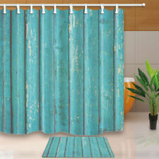 Blue Wood Block Bath Decor Waterproof Fabric Shower Curtain Liner Doormat Rugs