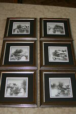 Set of Six Classical Chinese Paintings Mounted & Possibly Woodcut Print