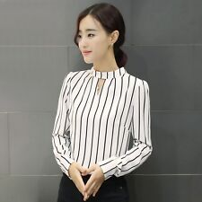Ladies Elegant Career  OL Striped Chiffon Shirt Long Sleeve Blouse Tops A+++