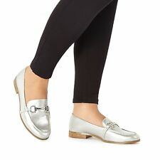 Faith Silver 'Agnes' Metallic Loafers From Debenhams