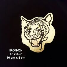 White Bengal Tiger Embroidery Cougar Feline IRON-ON Cats Patch Wild Cat Applique