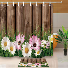 Beautiful Flower Bath Decor Waterproof Fabric Shower Curtain Liner Doormat Rugs
