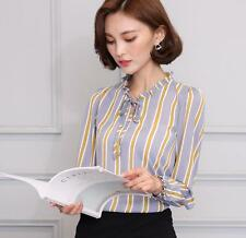 Ladies Elegant Bow Tie Striped Blouse Long Sleeve Shirt Chiffon OL Career Tops