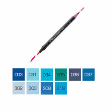 ZIG Art and Graphic Twin Tip Brush Marker Pen - Blue Colours